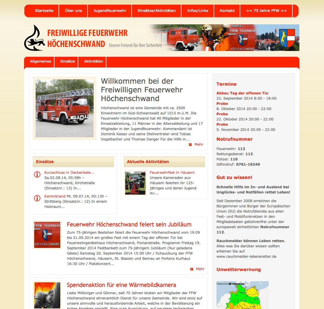 Relaunch Webseite Feuerwehr Höchenschwand
