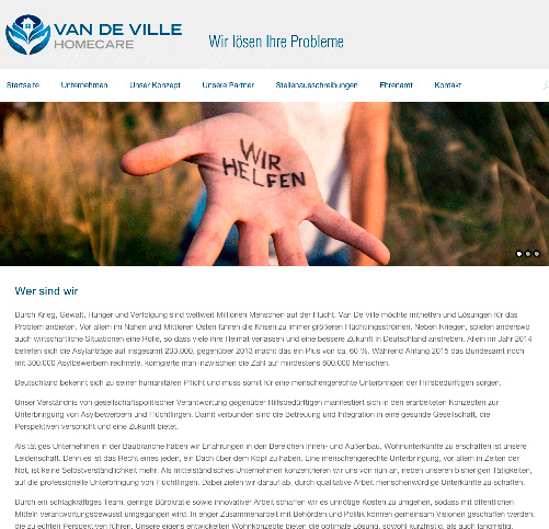 Van de Ville Home Care reagiert kurzfristig auf Not der Flüchtlinge